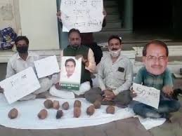 Indore, Congressmen set up, Declavir coconut shop,protest against ,Chief Minister