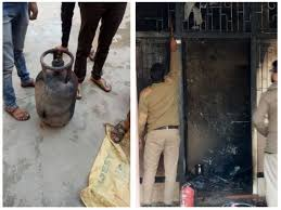 Bhopal, Young man, ran away ,with burning cylinder, two people scorched