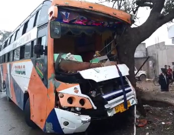 Indore, Bus full , passengers entered , tree, no casualties